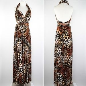 Narcisa Lang Maxi Convertible Animal Wrap Dress OS